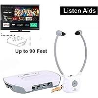 Wireless Hearing Aid Headset System,Artiste 2.4G TV Assistive Listening Headphones, Including Wireless Transmitter,For Elderly Hearing Aid Headset,TV Sound Amplifier,2 Packs Battery-White