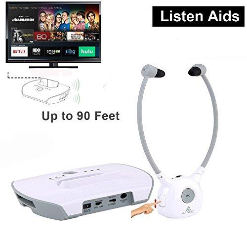 Assistive Listening Headphones Transmitter Battery White