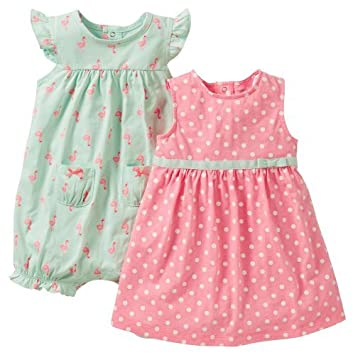 a00dbc76fc7 Amazon.com   Carter s Girls 3 Piece Cotton Dress Romper Set (9 ...