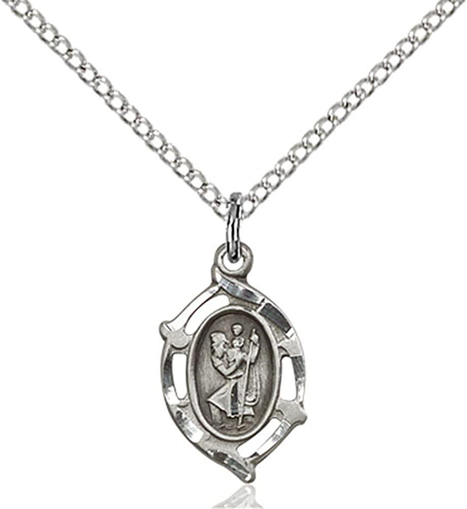 Heartland Store Womens Unique Sterling Silver St Christopher Medal with 18 Sterling Silver Chain