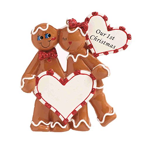 Personalized Gingerbread Love Christmas Tree Ornament 2019 - Romantic Couple Kiss Candy Cane Heart Our 1st Anniversary Sweet First Tradition Cookie Gift Year - Free Customization -