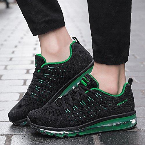 Fexkean Chaussures de Sport Chaussures Homme Femme Running Respirant Baskets Mode Entraînement Noir Rouge Gris noir/vert eIgpZ0M004