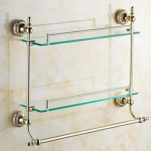 JinRou Unique design style Gold-bathroom accessories glass shelves bathroom cosmetics bath rack by JinRou Bathroom?accessories