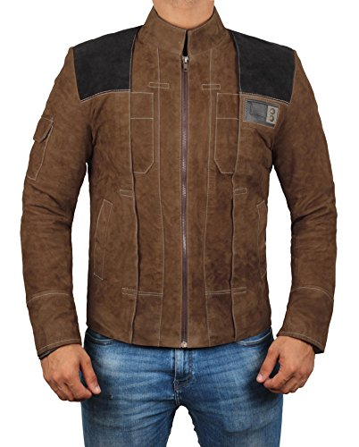 Star Wars Han Solo Jacket - Brown Mens Han Solo Suede Leather Jacket for Mens (Hans Solo Suede Leather Jacket, L)