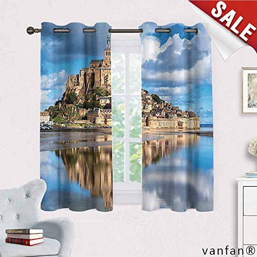 (Big datastore Medieval Decor Collection Curtain Set for Bathroom,French Castle on The Sea Fairy Photo of Renaissance Historical Cultural Heritage Curtains to Block Out Heat,Blue Cream White W55 x L63)