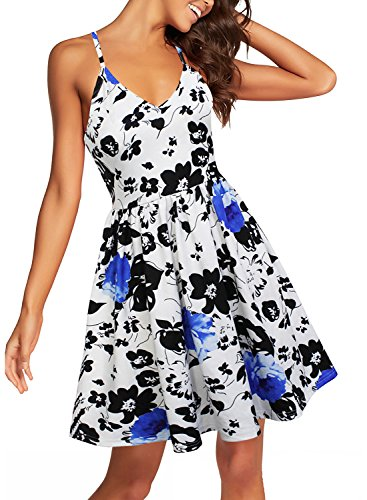 Berydress Women's Spaghetti Strap Sundress Summer Beach Knee-Length Floral Flared A-Line Swing Party Dress (XL, 6022-blue Floral) (Dress Cotton Knitting)