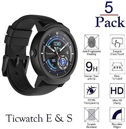 Josi Minea [ Ticwatch E & Ticwatch S ] 3d強化ガラススクリーンプロテクターの端にカバー傷防止Ballistic LCDガードHDプレミアムShield for Ticwatch E & Ticwatch S JM-EFG3L08FG568  5-パック B07BRH8S6C