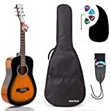 Acoustic Guitar Bundle Junior (Travel) Series by Hola! Music with D'Addario EXP16 Steel Strings, Padded Gig Bag, Guitar Strap and Picks, 3/4 Size 36 Inch (Model HG-36SB), Vintage Sunburst
