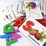 Meshion Home Learning Preschool Early Educational Development Jigsaw Puzzles,Colorful Wooden Alphabet and Fruit Card, Matching Games Toys for Age 3-7Years Old Kids Children Boys Girls