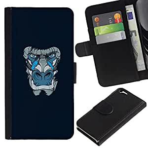 All Phone Most Case / Oferta Especial Cáscara Funda de cuero Monedero Cubierta de proteccion Caso / Wallet Case for Apple Iphone 6 // Blue Gorilla Monkey