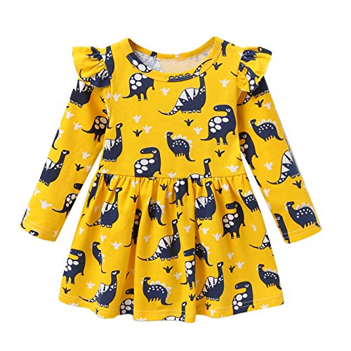 Fozerofo Toddler Baby Girl Dress Dinosaur Print Long Sleeve Casual Dress Outfit Clothes ()