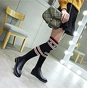KHSKX Lana Negra Y Botas Largas Estirar Los Calcetines Botas Zapatos De Mujer Elegante Y Negrita