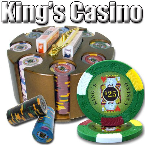 200 Ct King's Casino 14 Gram Poker Chip Set w/ Wooden Carousel by Brybelly