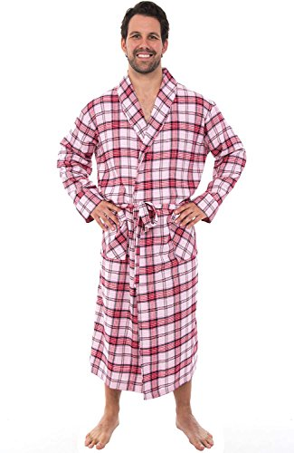 Flannel Plaid Gown - Alexander Del Rossa Mens Flannel Robe, Soft Cotton Bathrobe, Large Red White Black Plaid (A0707Q43LG)