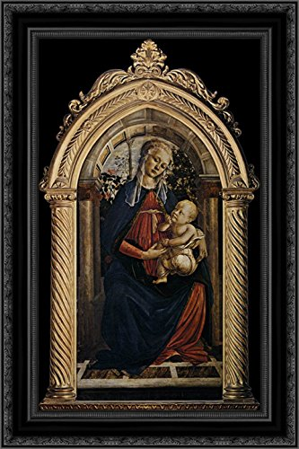Botticelli Sandro Canvas - Madonna of The Rosegarden 24x16 Black Ornate Wood Framed Canvas Art by Sandro Botticelli