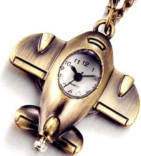Lancardo Classic Warcraft Shape Fob Pocket Watch Personalized for Boy Girl Kid with Gift Bag