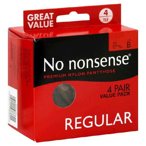 Nonsense Value Pack - No Nonsense Regular Reinforced Toe Pantyhose, 4 Pair Pack, Tan, B