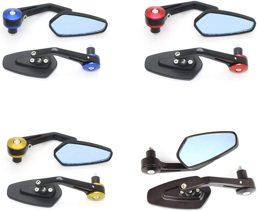 Aaren Diamant-R/ückspiegel Motorrad Universal-Modified Teile Curved Rod Griff Aluminium-Legierung Material Reflektorspiegel 360/°drehbarer Lenkerspiegel Color : Black