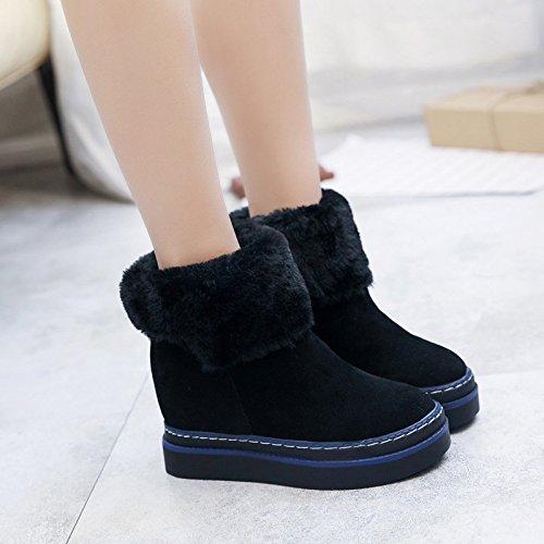 KHSKX-Botas De Suela Gruesa Casual Zapatos Y Botas Para Mantener Caliente Muffin Dos Usando La Piel Mujer Black Treinta Y Ocho Thirty-eight