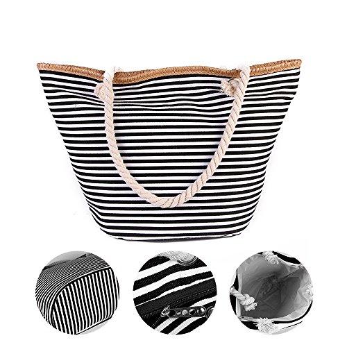 RETON Summer Beach Bag Shoulder Bag Nuevo Naval Striped Canvas Shopping Bag para Mujeres y Hombres (Cielo Azul) Negro Clásico