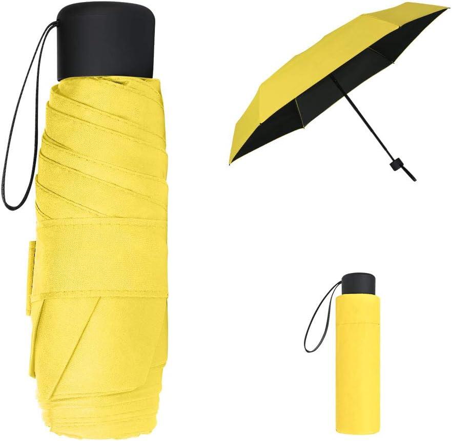 Vicloon Mini Paraguas del Sol,Paraguas de Viaje Portátil con Diseño de Esqueleto Mejorado y 210T Negro Tela de Goma, Paraguas Plegables y Compacto Resistencia UV & Impermeable (Amarillo)