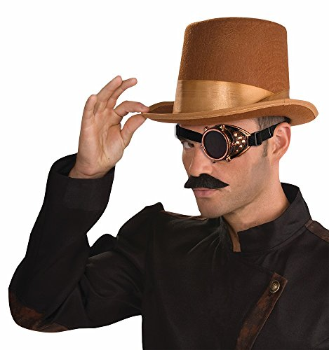 Forum Novelties Steampunk Brown Bell Topper Top Hat With Gold Goggle Monocle Costume - Wonka Willy Goggles