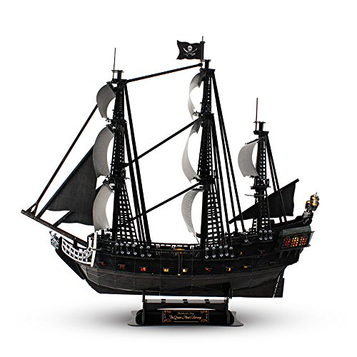 CubicFun 3D Pirate Ship Puzzle Sailboat Vessel Model Kits with Led Lights, Large Black Queen Anne's Revenge,340 Pcs