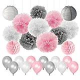 LUCK COLLECTION Girls Baby Shower Pink Grey Party Decorations -Tissue Paper Pom Poms Lanterns Paper Honeycomb Balls and Balloons