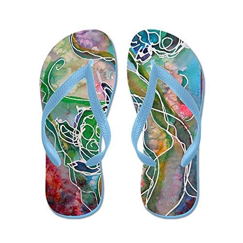 Cafepress Sköldpaddor! Havssköldpaddor! Wildlife Art! - Flip Flops, Roliga Rem Sandaler, Strand Sandaler Caribbean Blue
