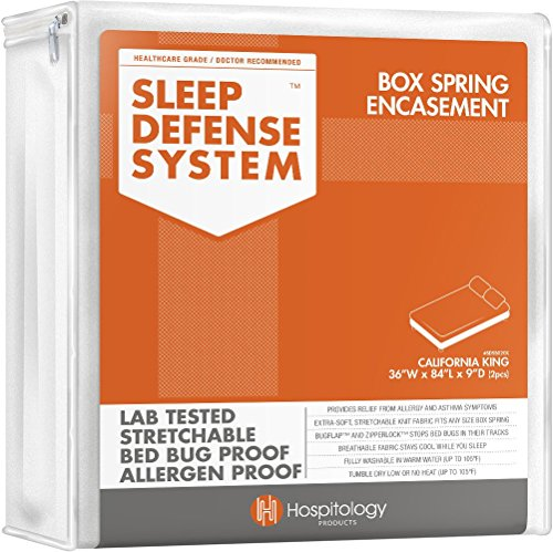 The Original Sleep Defense System - PREMIUM Zippered Bed Bug & Dust Mite Proof Box Spring Encasement & Protector - 2 pcs, 36-Inch by 84-Inch, California King (for