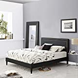 Modway MOD-5924-BLK Virginia Platform Bed with Squared Tapered Legs, King, Black
