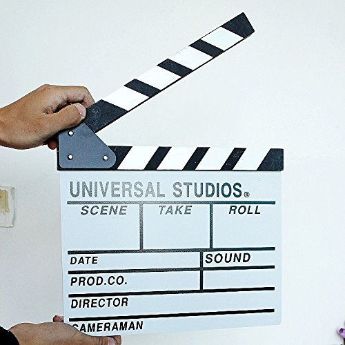 Wooden Director Video Scene Clapperboard by Pixco Film Movie Slateboard Cut Prop Promotion Size Large 30cm x 27cm (White)