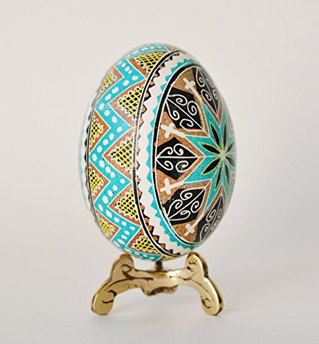 Pysanka egg chicken egg hand painted Ukrainian Easter egg Orthodox cross