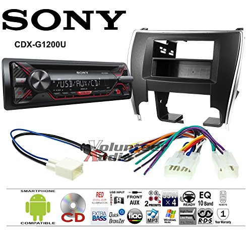 Volunteer Audio Sony CDX-G1200U Double Din Radio Install Kit with CD Player, USB/AUX Fits 2015-2017 Non Amplified Toyota Camry ()