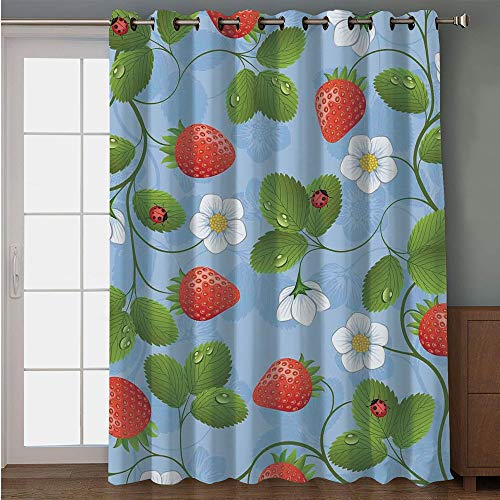 iPrint Blackout Patio Door Curtain,Ladybugs,Strawberries Daisies and Ladybugs Looks Like Ivy Plant Spotted Insects Image,Blue Green Red,for Sliding & Patio Doors, 102