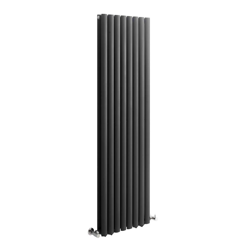 Double Rang Acier Gris Anthracite Radiateur Chauffage Central Vertical Design Milano Hudson Reed 160 x 47cm