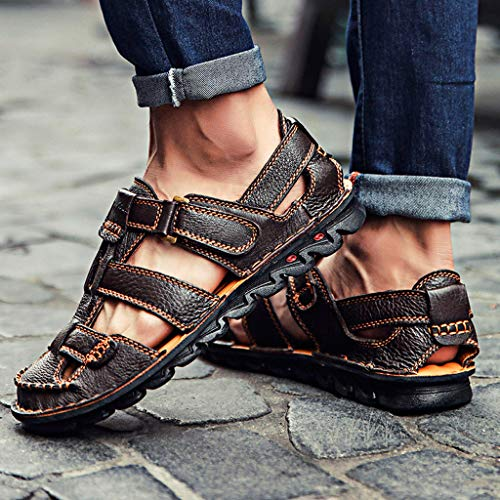 Summer Men's Sandals,Summer Mens Leather Sandals Flats Beach Walking Non-SlipSoft Bottom Casual Shoes by Tronet Sandals (Image #5)