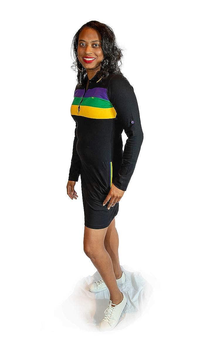 Mardi Gras Three Striped Black Polo Dress with Pockets