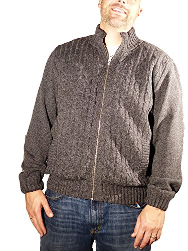 Boston Traders Men's Cable Knit Sweater With Sherpa Lining Pewter - Shopping Boston Outlet