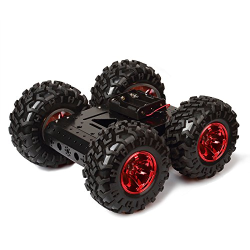 Red rubber tire 4WD Smart Car Chassis Kit - iron Chassis + 4pcs DC 12V Motors + Non inflatable rubber tire for Arduino Raspberry Pi DIY Obstacle Avoidance Smart Car Large Size 10.6x10.6x4.7inch ()