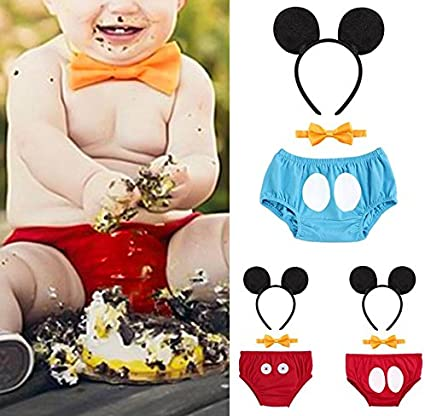 Baby Boys 1st//2nd//3rd Birthday Cake Smash Outfits Y Back Suspenders Bloomers Bowtie Cute Mouse Ears Costume