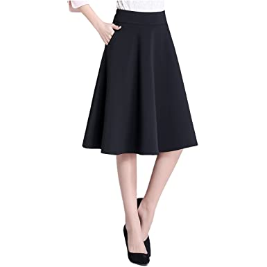 37edbcd08dbe Women's High Waist A-line Skirt Pleated knee length Midi Skirt with Pockets