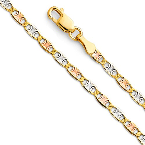 14k Tri Color Gold Solid 2.5mm Valentino Star Diamond Cut Chain Bracelet with Lobster Claw Clasp - - Color Star Tri