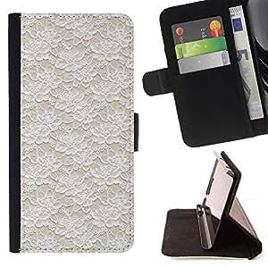 For Apple iPhone 5C Case , Vintage Vignette Wallpaper Beige- la tarjeta de Crédito Slots PU Funda de cuero Monedero caso cubierta de piel