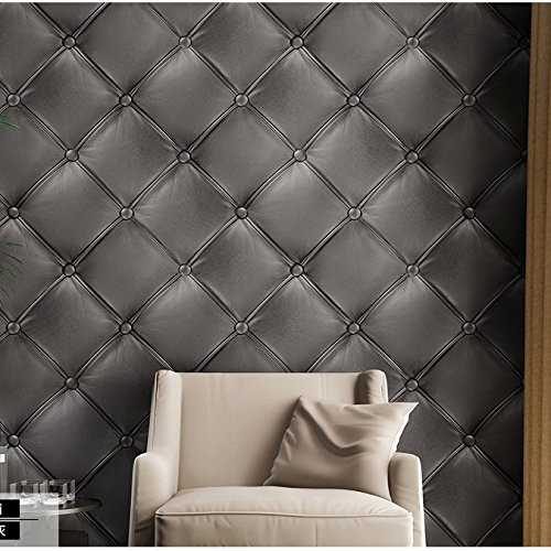 Dark Grey 3235 Gery 3D Leather Textured Wallpaper Vinyl Mural 208 X 3937