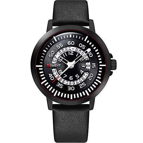 (Mens Watches Fashion Casual Designer Dress Unique Quartz Analog Wrist Watch Waterproof Work Business Watch Calendar Date Window Stainless Steel Band/Leather Strap-Brown)