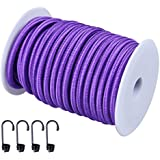 "CARTMAN 1/4"" Elastic Cord Crafting Stretch String, 40kg x 50ft, with 4 More Hooks, Purple Color"