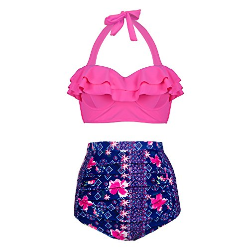 PZZ Flouncing High Waist Vintage Floral Printed Two Piece Woman's Beachwear Bikini Set (Medium, Pink)