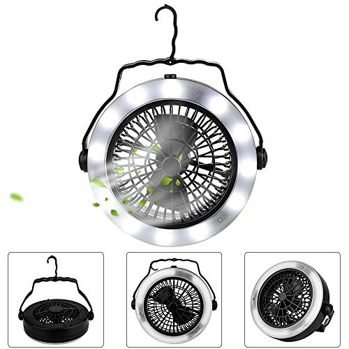 Camping Lantern, Camping Fan Light,Portable Lightweight LED Tent Light with Ceiling Fan and Hook, USB Powered or Battery Operated,for Truck Tent, Fishing, Emergencies, Hurricanes,Outages,Survival Kit