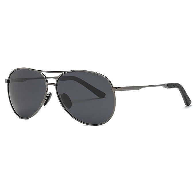 kimorn Polarizado Gafas De Sol Hombre Estilo Piloto Marco De Metal Unisexo Lentes K0583 (Gris&Negro